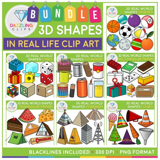Rectangular Prism Real Life Examples: 3D Shapes In Real Life Clip Art BUNDLE